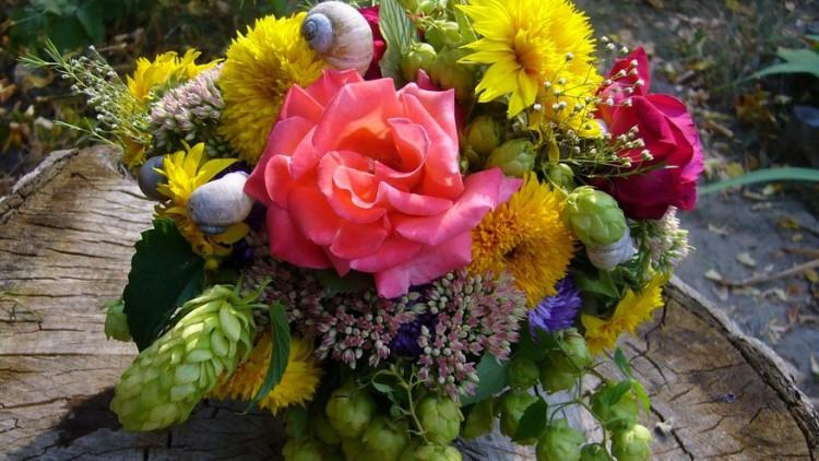 Цветочная композиция с цветами сентября