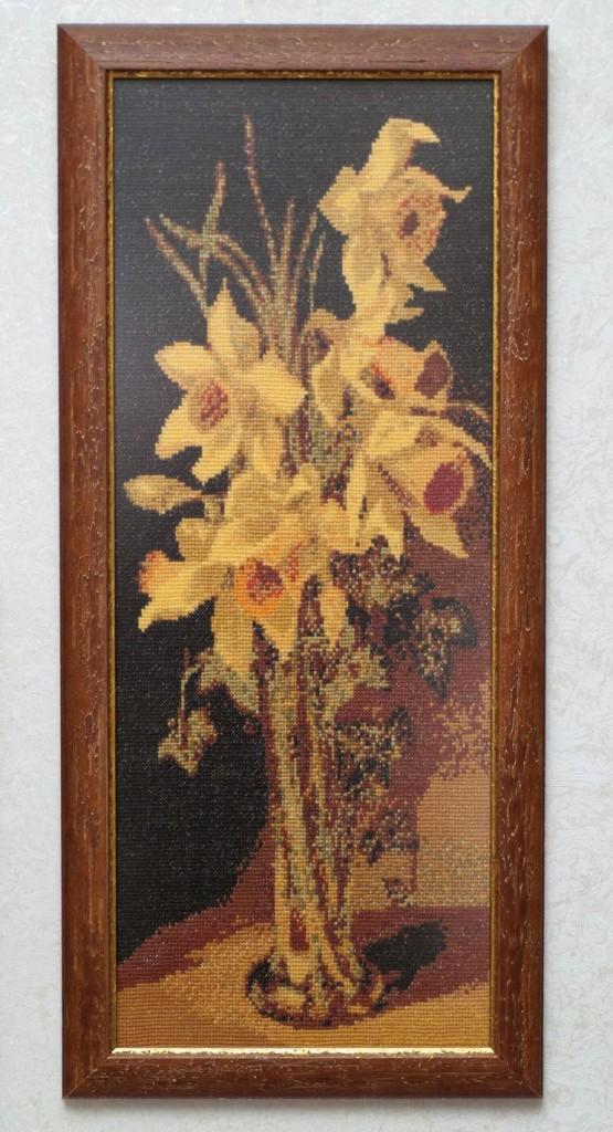 Вышивка крестиком Жёлтые тюльпаны