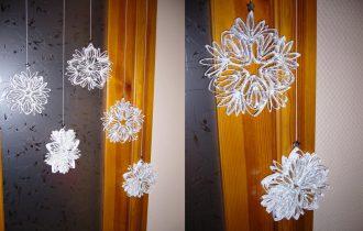 Снежинки из картонных трубочек